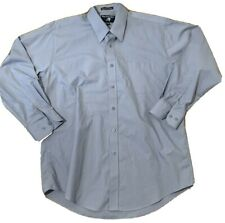 MEN'S FALCON BAY COMFORT COLLAR LONG SLEEVE BLUE/GRAY COTTON/POLY SHIRT 16 32-33