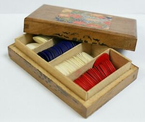 Vintage Wooden Box Containing 100+ Bone Gaming Counters