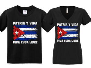 NEW! Patria Y Vida Free Cuba Libre Freedom Flag Libre T-shirts Unisex