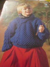 knitting pattern childrens lovely aran sweater  size 22/32