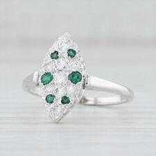 Vintage Pave Diamond Green Garnet Marquise Ring 14k White Gold Size 8.25 Cluster