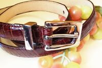 Kenneth Cole Croc Embossed Womens Calf Leather Belt Sze 34 D-Brown Silver Buckle