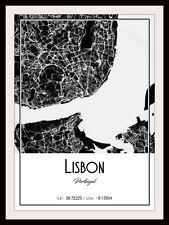 LISBON CITY MAP POSTER PRINT MODERN CONTEMPORARY CITIES TRAVEL IKEA FRAMES