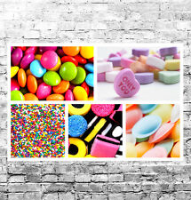Caramelo Dulces Retro impresionante Lienzo Collage #1 Calidad Retro Caja de arte de Pared de tela