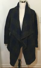 Barneys New York Baby Alpaca Oversized Sweater Open Cardigan XS Checks Blue/Gray