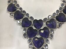 African Amethyst Heart Necklace Ten Large Hearts Valentine's Gift 30 Other Gems