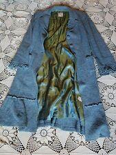 Anthropologie Nanette Lepore long blue virgin wool crochet cuff  pin up coat M
