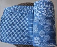 Indian Handmade Kantha Quilt Indigo Blue Design Print Cotton Queen Bed Cover