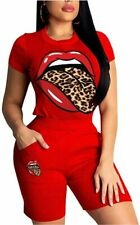 Women Short Sleeve 2 Piece Outfits Tracksuit Sequin Lips, A Red, Size Medium bHU