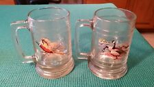 2 Vintage Clear Glass Weighted Handled Mug beer steins Pheasant & standing geese
