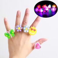 Kids LED Flashing Glow in Dark Finger Light Ring Xmas Party Favor Toy Gift Decor
