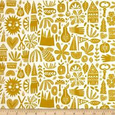 Cloud 9 Organic Kindred Fable Citron - Cotton Quilting Fabric - FAT 1/4