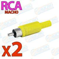 Conector aereo para audio o video RCA MACHO con carcasa - AMARILLO - Lote 2 unid