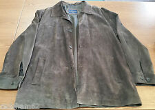 HATHAWAY BLUE LABEL MEN'S LARGE BROWN LEATHER SUEDE JACKET- EXCELLENT PRE OWNED