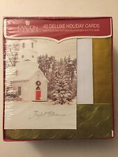 40 Deluxe Holiday Cards By Carlton New Sealed In Box Foil Lined Self Sealing Env