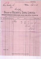 RECKITT & SONS, LIMITED. Hull 1913 Manfs. Starch, Metal Polish Invoice Ref 47865