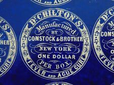 c.1850 - RARE FULL SHEET of DR. CHILTON'S FEVER AND AGUE CURE - PILL BOX LABELS