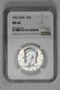 1967 SMS 50c Kennedy Half Dollar NGC MS 68