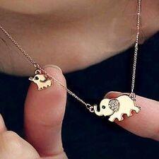 Lindo Colgante Collar Cadena de oro de elefante Estrás Cristal Joyería Regalo
