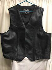 Men's FMC Black Leather Everyday Motorcycle Vest Size 52