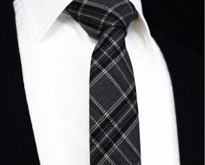 Mens Scottish Tartan Tie Skinny Slim Plaid Grey Black White Check 401-12