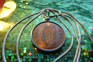 """Lucky Irish Copper Penny year 1966 with Woven Silver Chain Necklace 22"""" Length"""