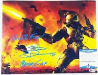 STEVE DOWNES MASTER CHIEF SIGNED HALO 11x14  METALLIC PHOTO BAS COA 056