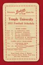 Antique 1933 Temple University Football Pocket Schedule Early 1930s Pop Warner