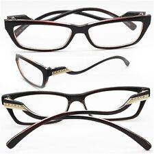 "Reading Glasses ""Italian Curve"" Wiggle Petite Polished ESPRESSO Frame +1.75 Lens"