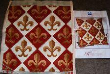 Stunning Verachtert Belgium Completed Cross Stitch Fleur de Lys Cushion Front