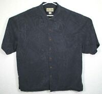 Jamaica Jaxx Mens Hawaiian Button Front Black Short Sleeve Silk Shirt Size XL