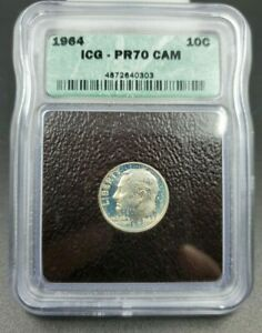 1964 P Proof Roosevelt Silver Dime ICG PR70 Cameo * Star Blue Toning Wow Coin