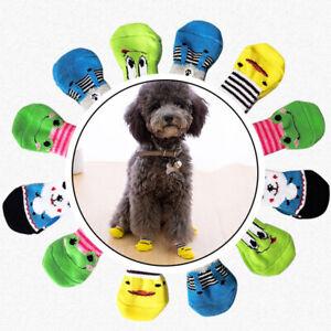 4PCS Pet Socks Cute Knit Cotton Non-Slip Puppy Cat Pet Shoes Slippers Warm S M L