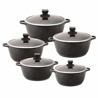 5PC INDUCTION STOCKPOT SET MARBLE COATED NON-STICK COOKWARE CASSEROLE BLACK