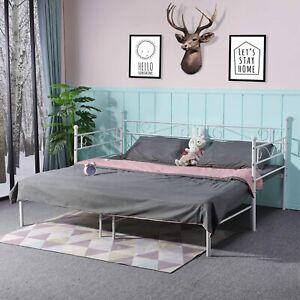 Tagesbettgestell aus Metall, Schlafsofa mit Ausziehbett, Metalllatten, Weiß