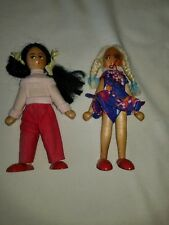 """2 CUTE  dolls wood jointed 6"""" female vintage 70s HAND PAINTED"""