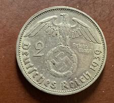Nazi 2 Reichsmarks 1939 G VF Silver Coin