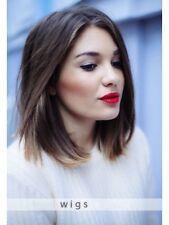 100%Human Hair Temperament Wig Dark Brown Straight Human Hair Medium Front Wig