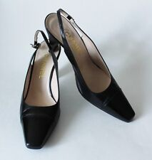 Auth CHANEL Black Leather Cap Toe Slingback Heels Size 38.5