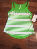 LULULEMON RUN FIRST BASE TANK IN OCEAN STRIPE FROND and white SIZE 12 NWT