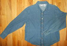 Denim Shirt L Womens 14-16 Blue Blouse Ruffles Long Sleeves Sara Studio WS139