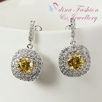 18K White Gold Plated Made With Swarovski Element Bezel Set Double Halo Earrings