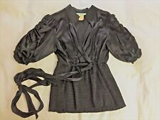BEAUTIFUL AND UNIQUE GUESS BY MARCIANO BLACK SILK BLOUSE TOP SZ S