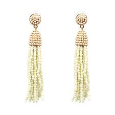 Boucles d'Oreilles Mini Perle Pompon Tassel Fait Main Artisanal Beige Blanc AA21