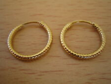 NO RESERVE Vintage 18 Ct Kt Yellow Gold Plated Fine Silver Hoop Earrings
