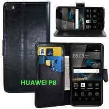 NEW BLACK WALLET LEATHER GEL CASE WITH CARD SLOT FOR HUAWEI P8 UK FREE DISPATCH