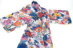 Lady women's sheer KIMONO pretty floral design light weight one size MULTICOLOUR