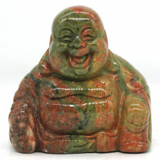 """1.4"""" Natural Gemstone Unakite Carved Maitreya Happy Laughing Buddha Figurine"""