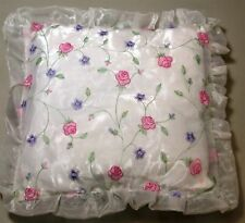 Floral Organza Embroidered Decorator Pillow ~ White Multi ~ 11 x 11 **NEW**