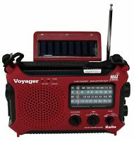 Kaito KA500 Voyager Emergency Radio Solar Crank With Free AC Adapter - Red